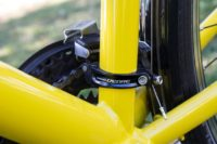 Front derailleur Shimano Deore on yellow comfort bikes for rental