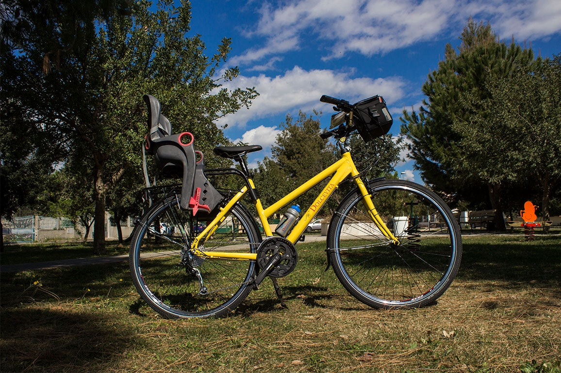 Yellow Trekking Comfort bike for hire - women's frame