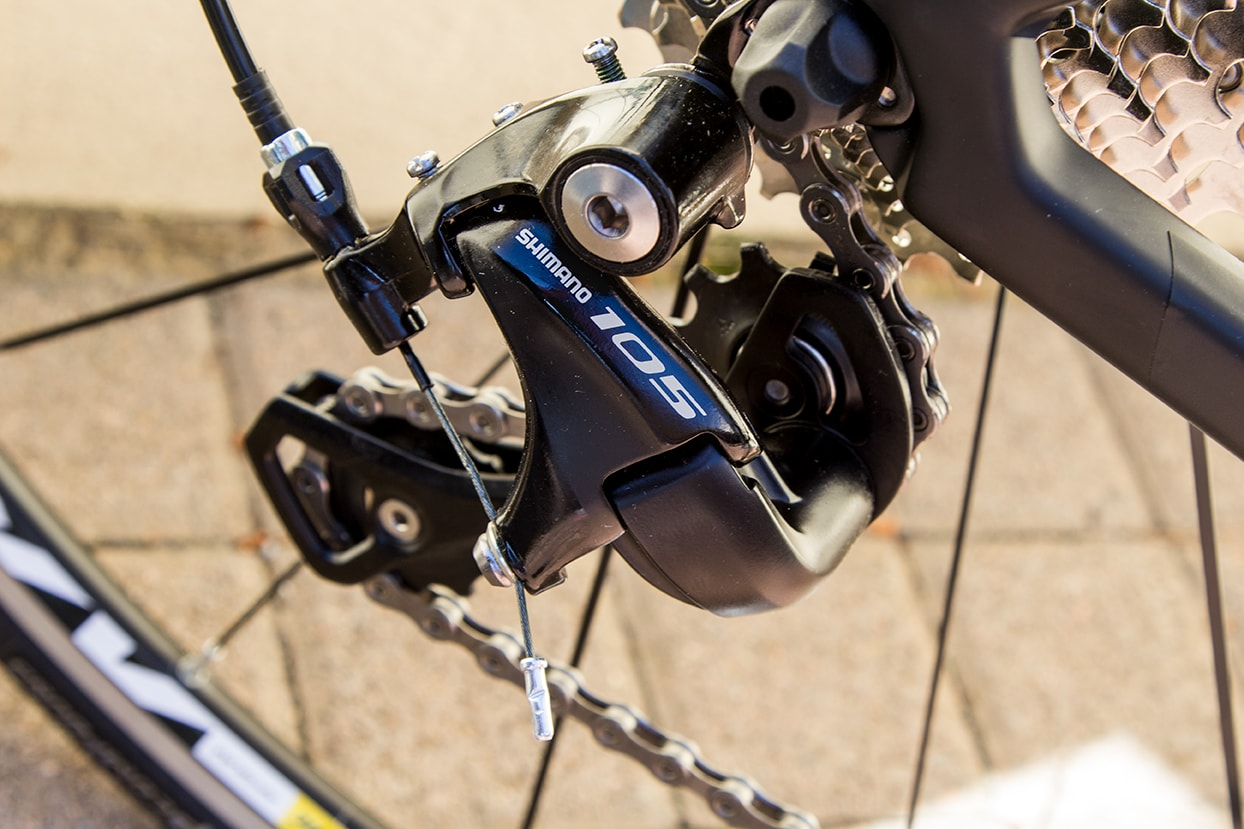 Shimano 105 rear derailleur on Cube race Bikes for rental