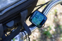 Sigma odometer on the bike handlebars