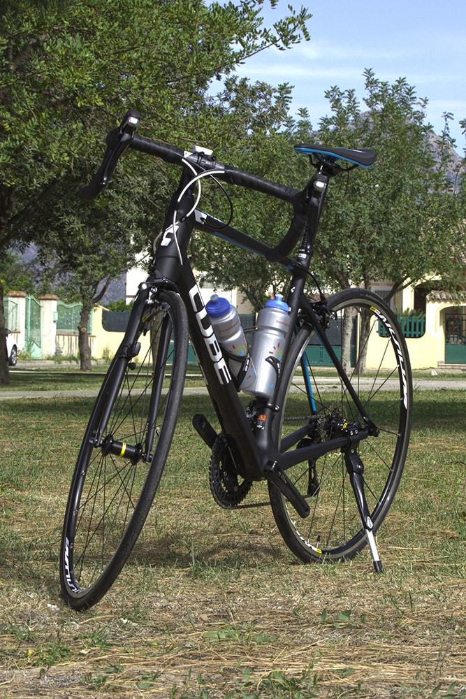 Black Cube road carbon bike for rental front view